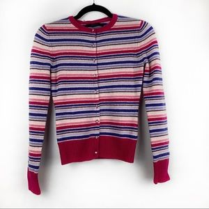 EXPRESS Striped Lambs Wool Cardigan Sweater Pink